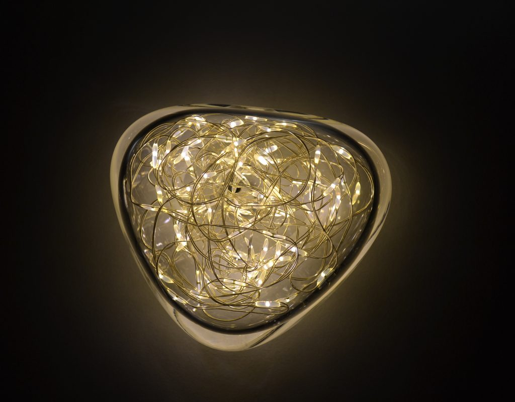 galet en verre éclairage luciole